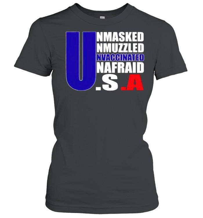 America flag Unmasked Unmuzzled Unvaccinated Unafraid shirt Classic Women's T-shirt