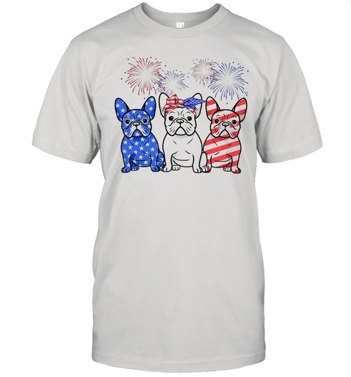 French Bulldogs 4th Of July American Flag  Classic Men's T-shirt
