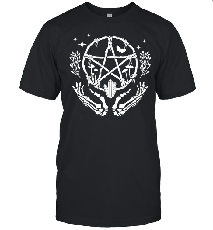 Womens Wiccan Pentacle Wreath With Skeleton Hands And Crystals shirt Classic Men's T-shirt