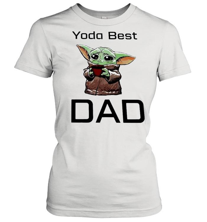 Baby Yoda Hug Coffee Best Dad  Classic Women's T-shirt