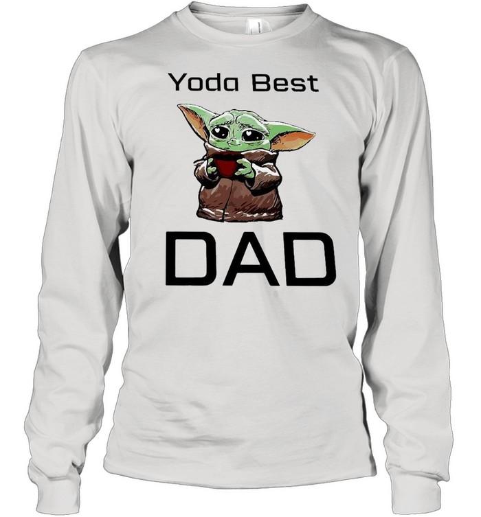 Baby Yoda Hug Coffee Best Dad  Long Sleeved T-shirt