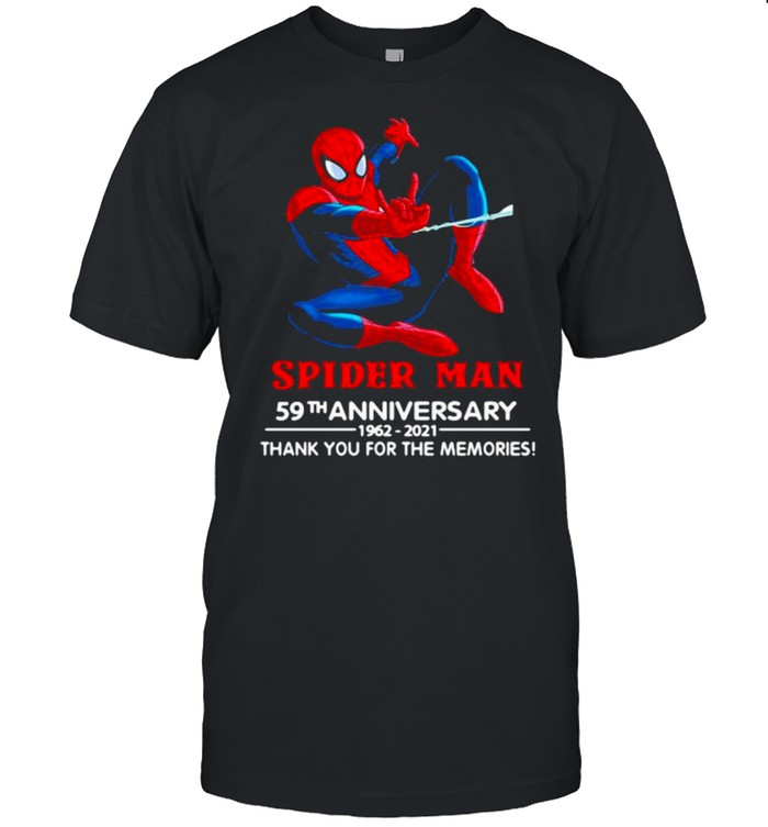Spider man 59th anniversary 1962 2021 thank you for the memories shirt