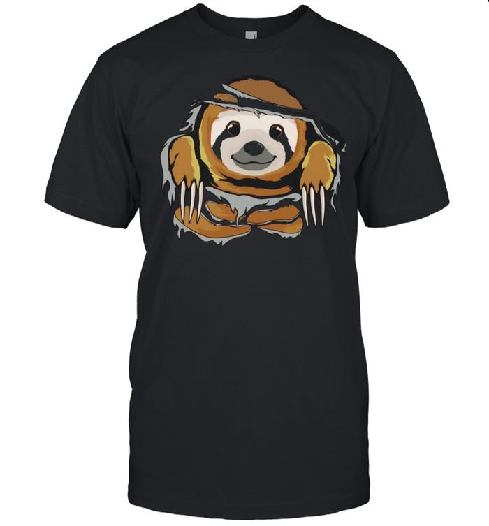 Faultier schaut durch zerrissene Kleidung Faultiere Langarmshirt shirt