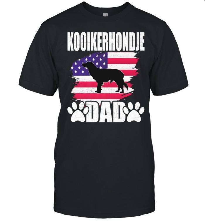 Kooikerhondje Dad Dog Lover American US Flag T- Classic Men's T-shirt