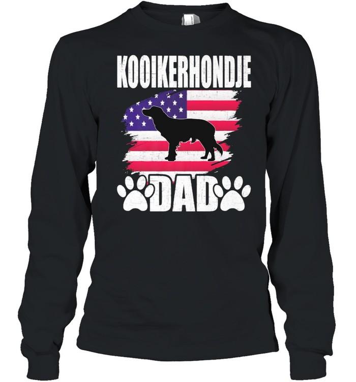 Kooikerhondje Dad Dog Lover American US Flag T- Long Sleeved T-shirt