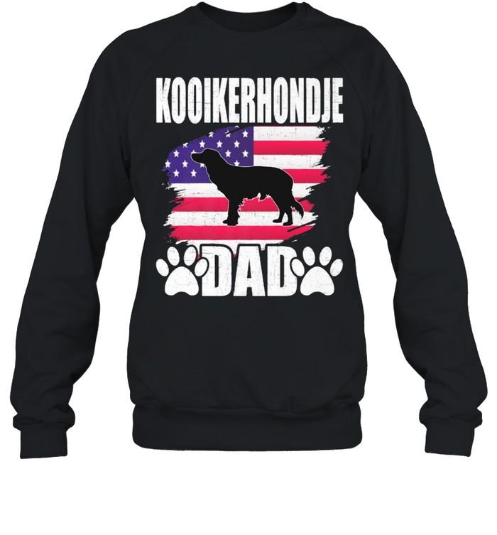 Kooikerhondje Dad Dog Lover American US Flag T- Unisex Sweatshirt