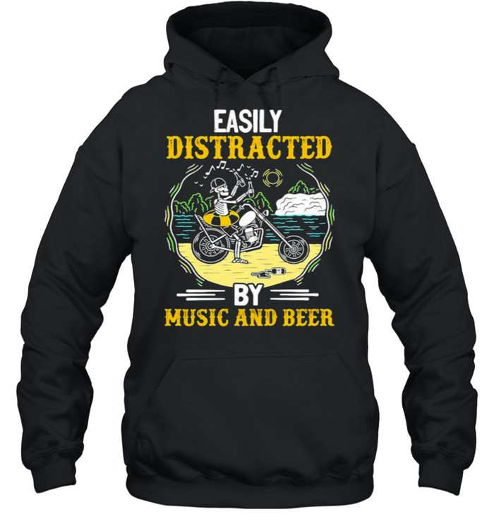 Easily distracted by music and beer skull motocycle shirt Unisex Hoodie