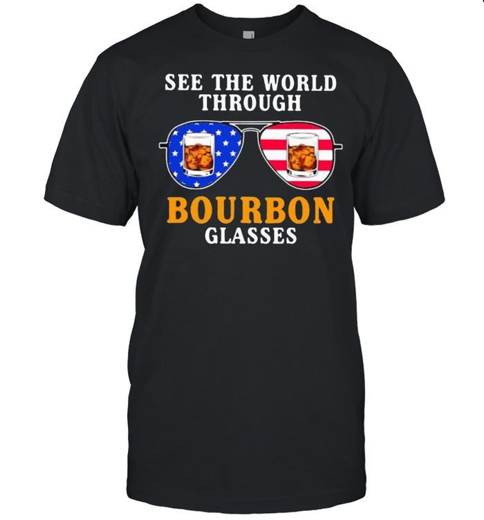 See the world through bourbon glasses american flag shirt