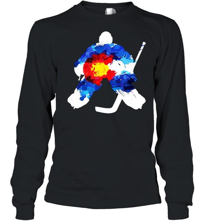 Colorado Hockey Goalie Watercolor T- Long Sleeved T-shirt