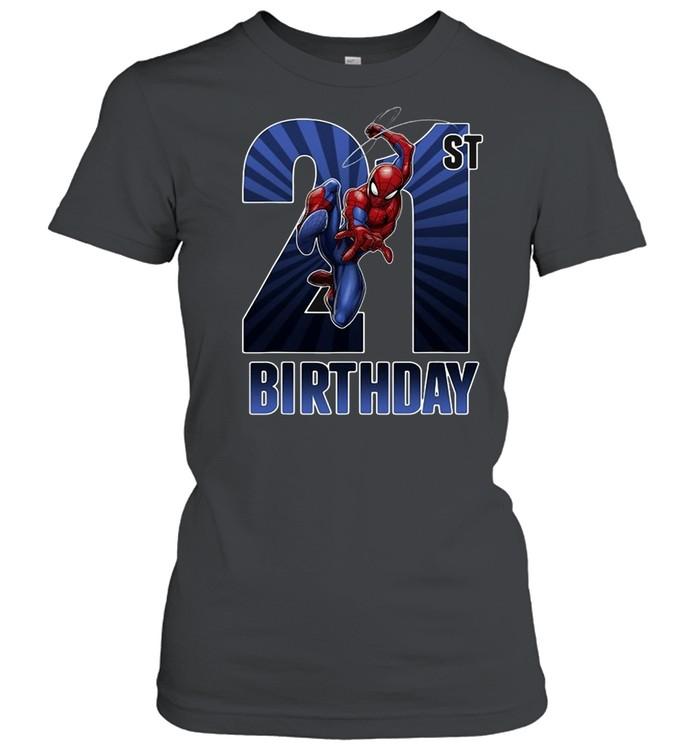 Marvel Spider-Man Swinging 21St Birthday Graphic T-shirt Classic Women's T-shirt