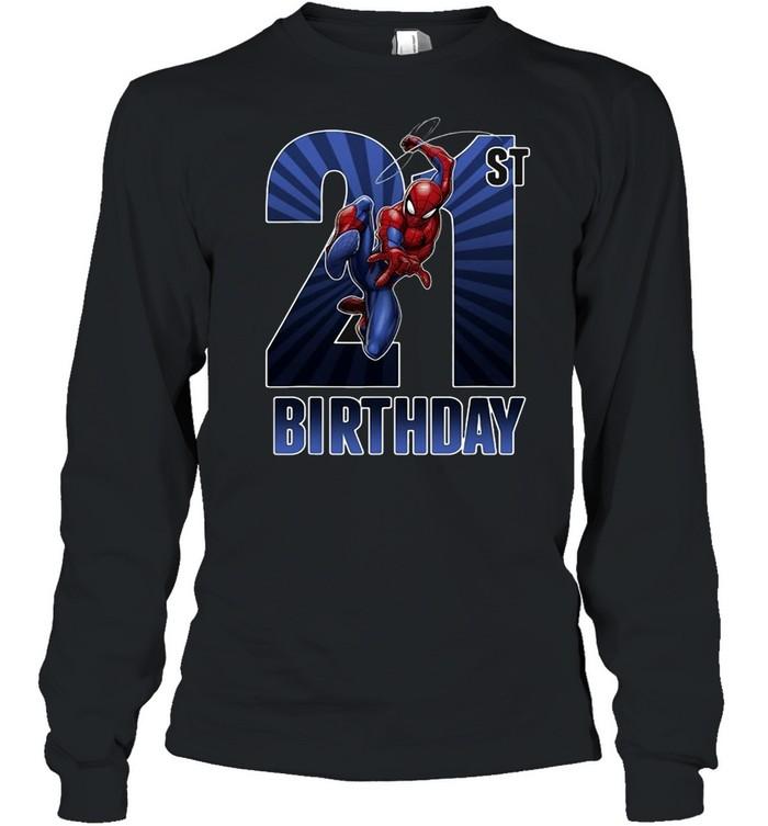 Marvel Spider-Man Swinging 21St Birthday Graphic T-shirt Long Sleeved T-shirt