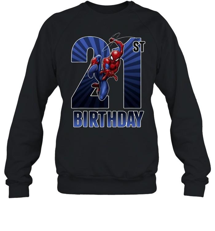 Marvel Spider-Man Swinging 21St Birthday Graphic T-shirt Unisex Sweatshirt