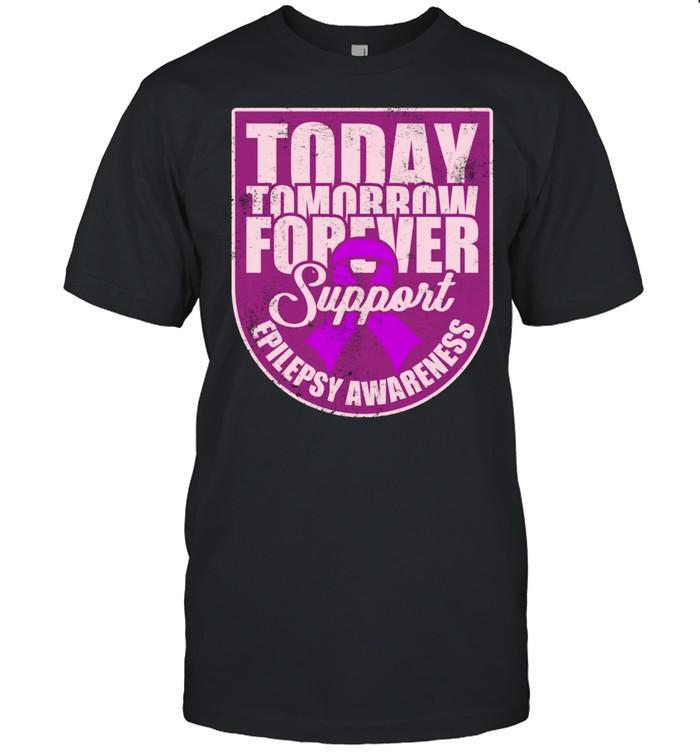 Epilepsy Awareness Support Purple Ribbon Forever Wear shirt