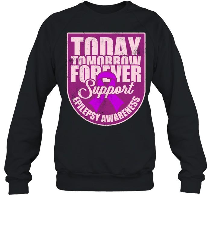 Epilepsy Awareness Support Purple Ribbon Forever Wear shirt Unisex Sweatshirt