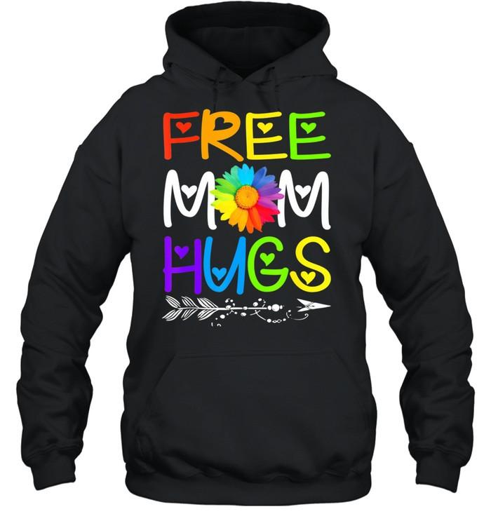 Free Mom Hugs Rainbow Heart LGBT Pride Month shirt Unisex Hoodie