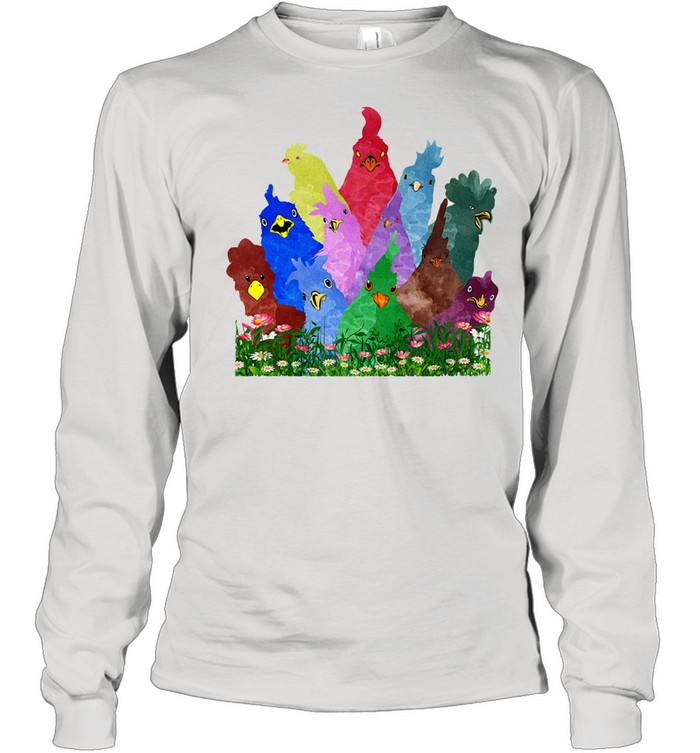 Chicken Rooster Colorful Rainbow shirt Long Sleeved T-shirt