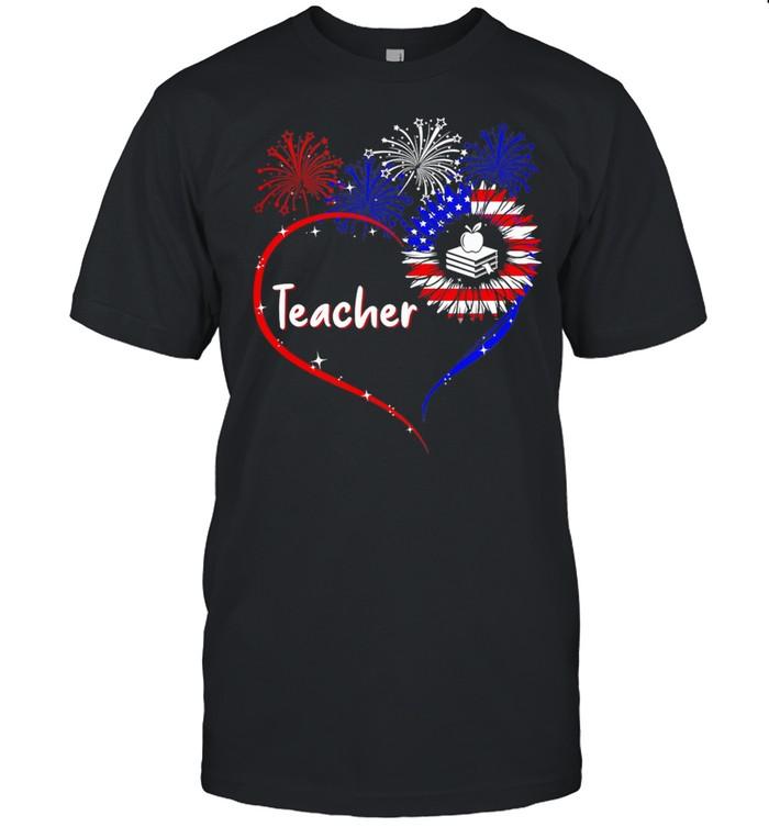 Teacher Heart Firework 4th Of July shirt