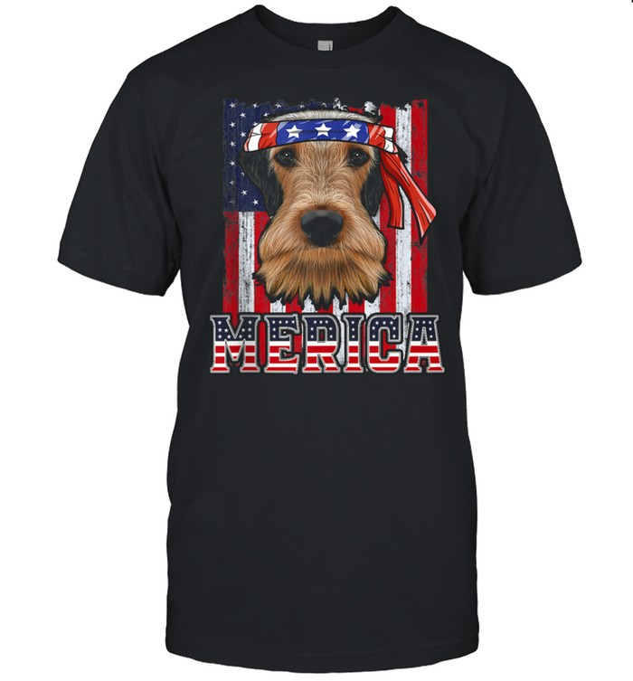 Airedale Terrier Merica 4th of July  Dog Patriotic Flag shirt Classic Men's T-shirt