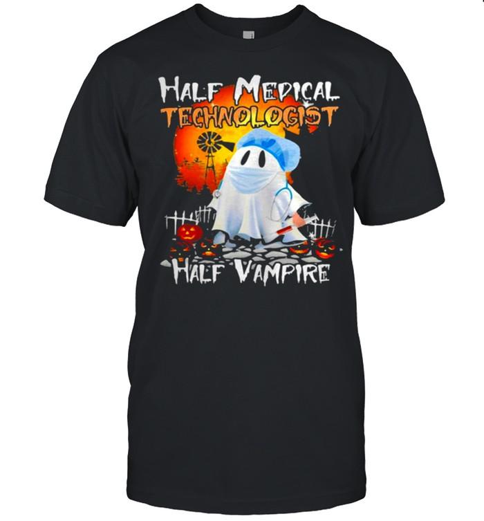 Ghost Half Medical Technologist Half Vampire Halloween T-shirt