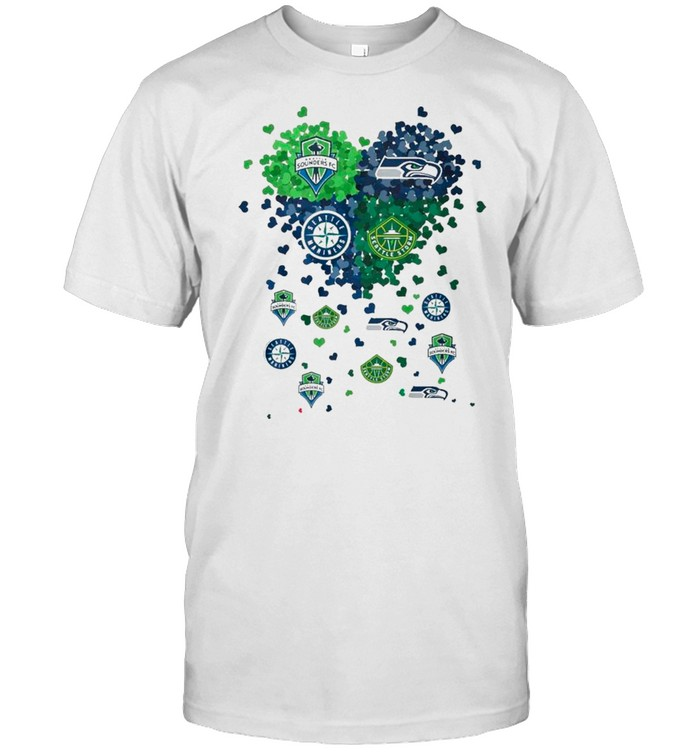 Heart Seattle Sounders Fc Seattle Seahawks Seattle Mariners And Seattle Storm Love shirt