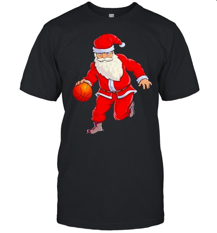 Santa dribbling a basketball Christmas shirt
