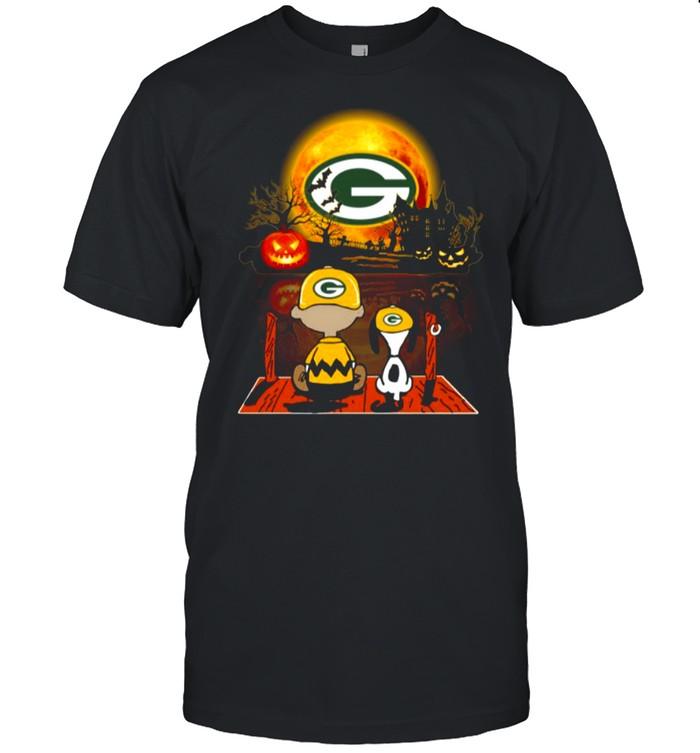 Snoopy and Charlie Brown Pumpkin Green Bay Packers Halloween Moon shirt