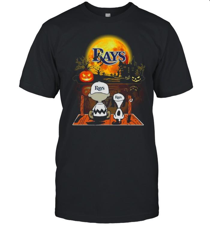 Snoopy and Charlie Brown Pumpkin Tampa Bay Rays Halloween Moon shirt
