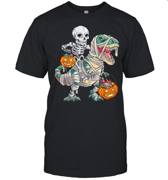 Skeleton Riding Mummy Dinosaur T rex Halloween Pumpkin shirt