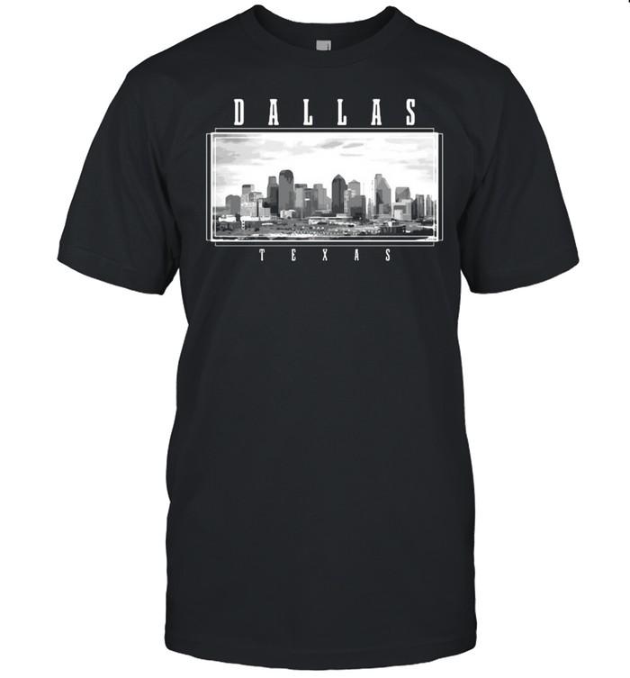 Dallas Texas Skyline Pride Black White Vintage T-shirt