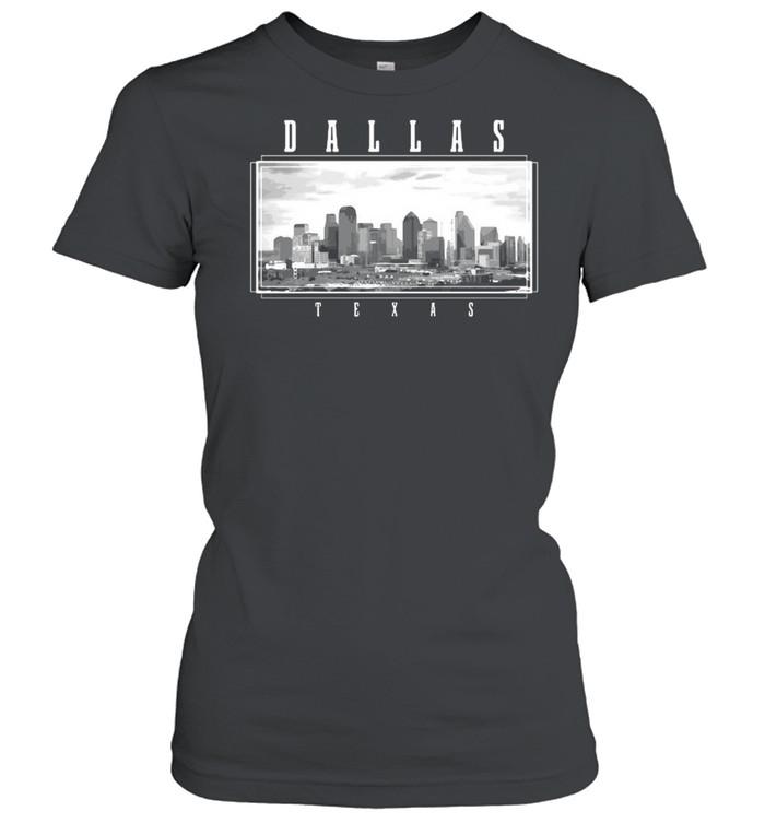 Dallas Texas Skyline Pride Black White Vintage T-shirt Classic Women's T-shirt
