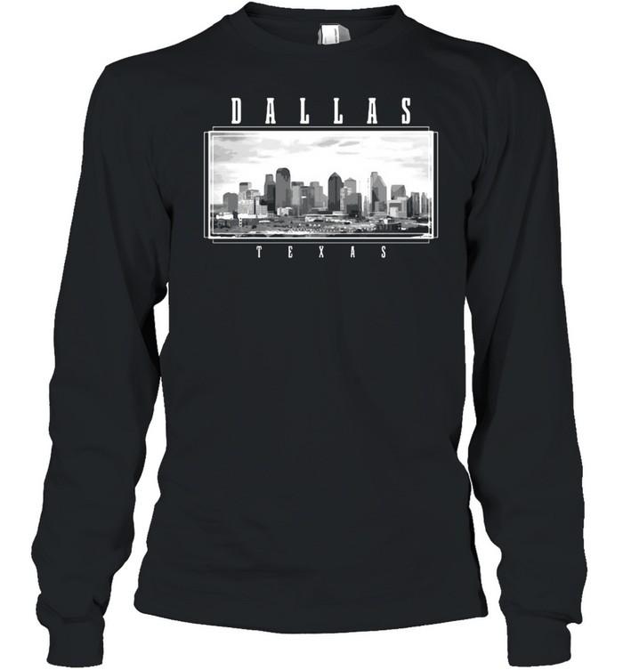 Dallas Texas Skyline Pride Black White Vintage T-shirt Long Sleeved T-shirt