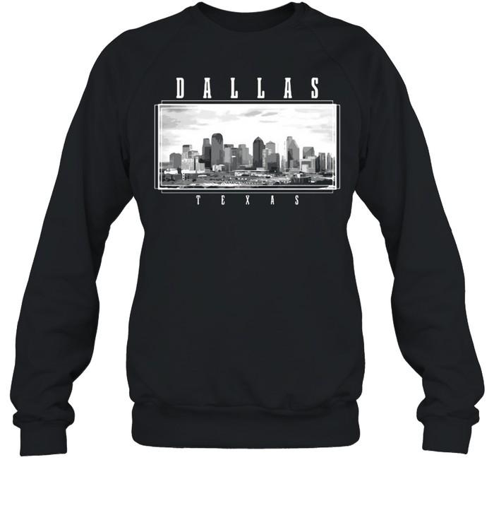 Dallas Texas Skyline Pride Black White Vintage T-shirt Unisex Sweatshirt