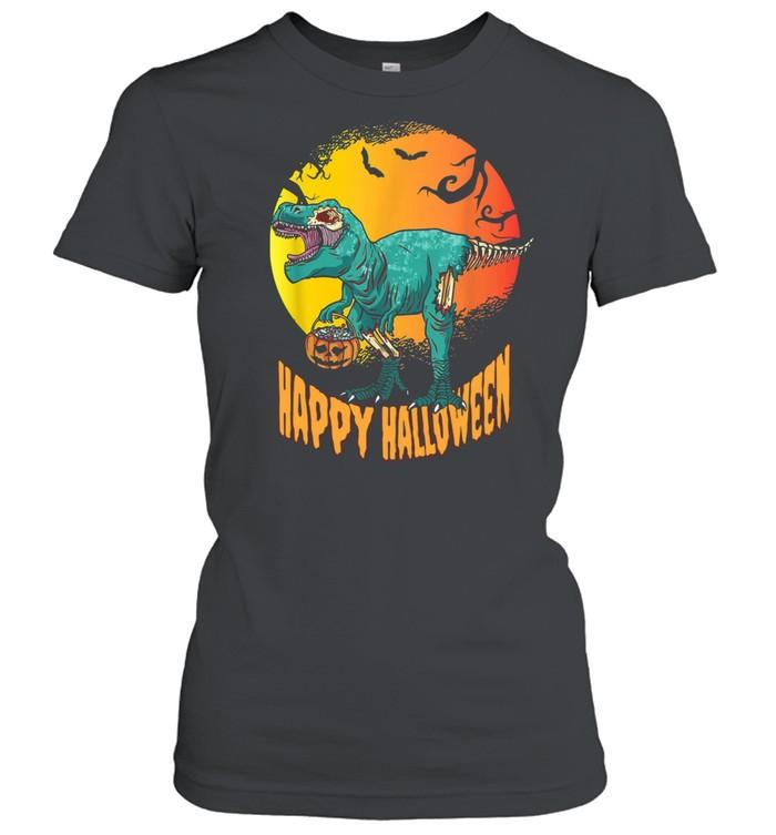 Happy Halloween Dinosaur T Rex Mummy Pumpkin  Classic Women's T-shirt
