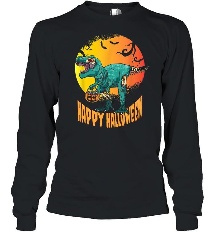 Happy Halloween Dinosaur T Rex Mummy Pumpkin  Long Sleeved T-shirt
