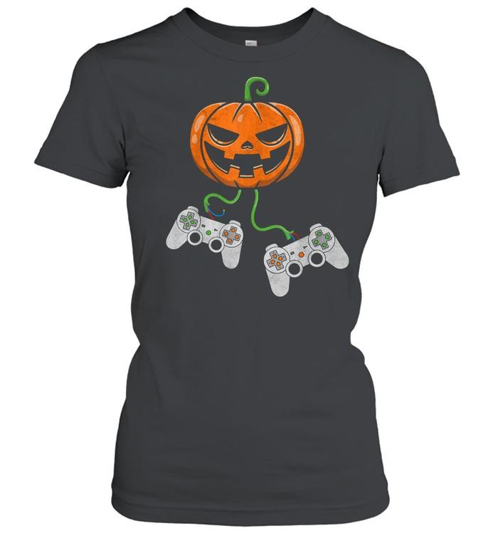 Halloween Video Game Controller Pumpkin shirt Classic Women's T-shirt