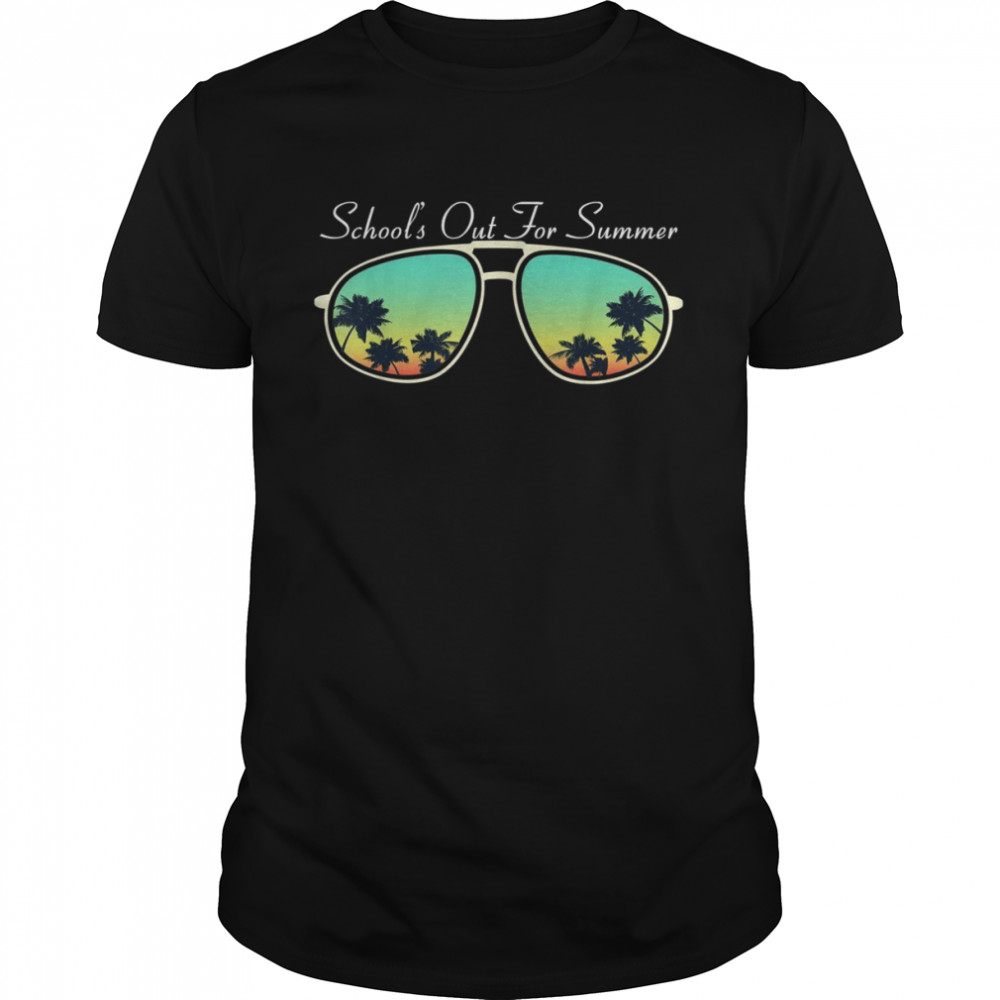 Schools Out For Summer Vacation Break Palm Tree Sunglasses shirt