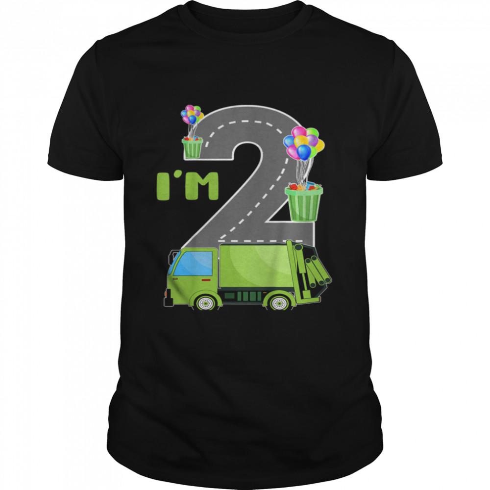 Youth I'm Two 2 Years Old 2nd Birthday Garbage Truck Birthday Boy Shirt