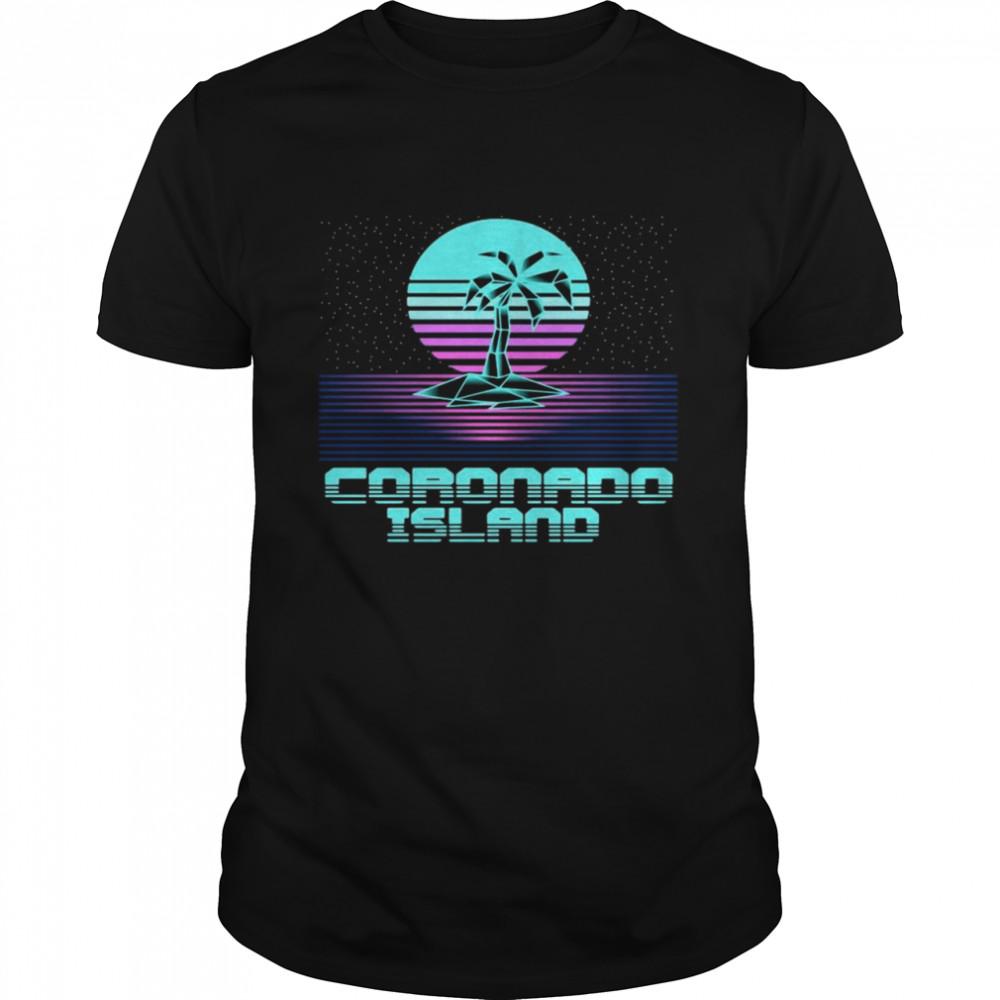 Coronado Island CA Retro Vintage 80er Palme Souvenir T-shirt