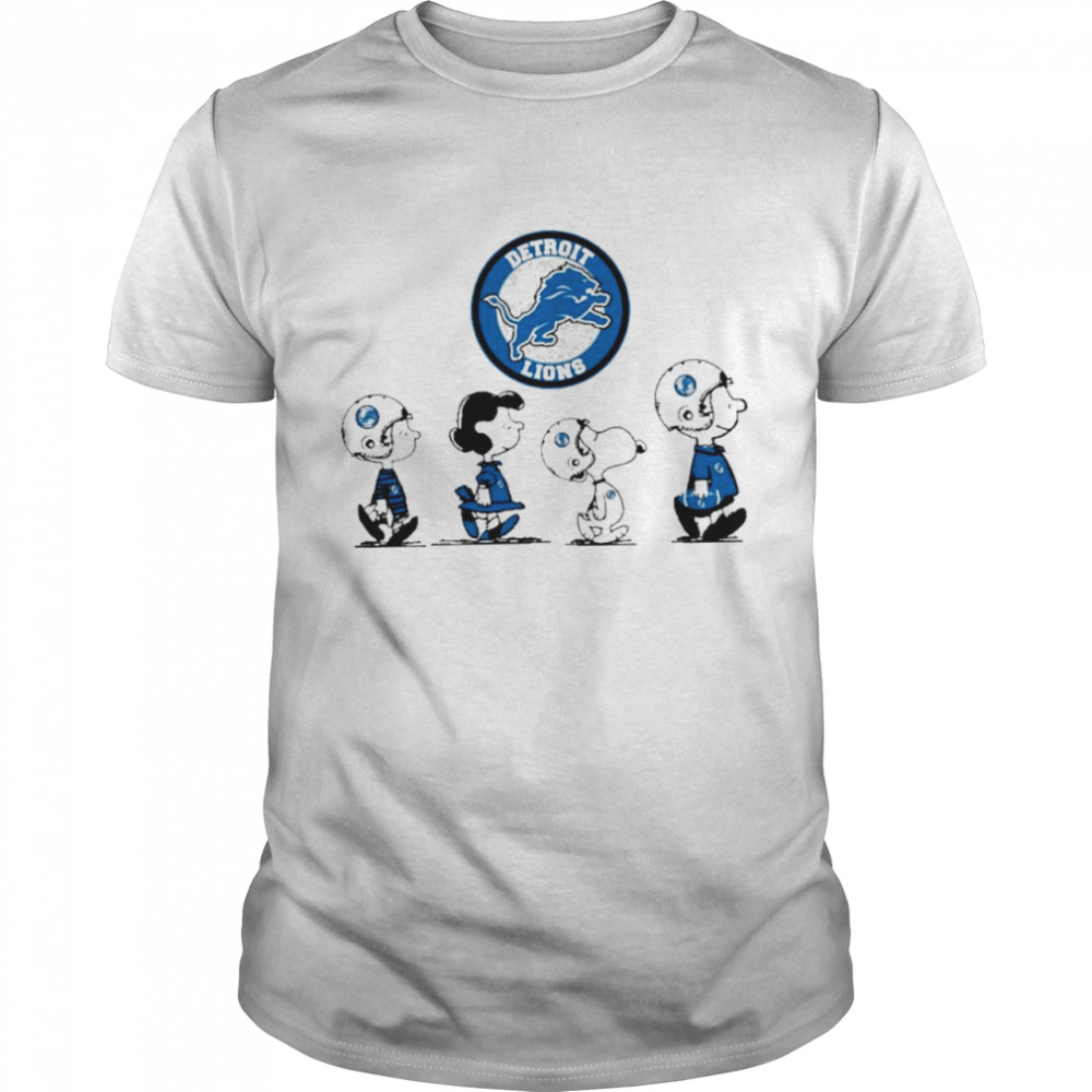 Snoopy and charlie brown and friends detroit lions logo shirt