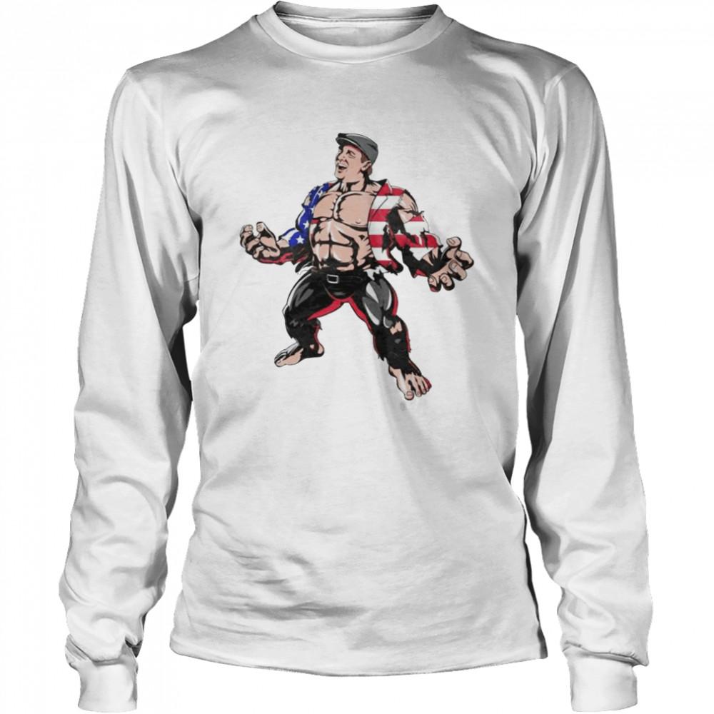 Hulk Marvel superhero American flag shirt Long Sleeved T-shirt
