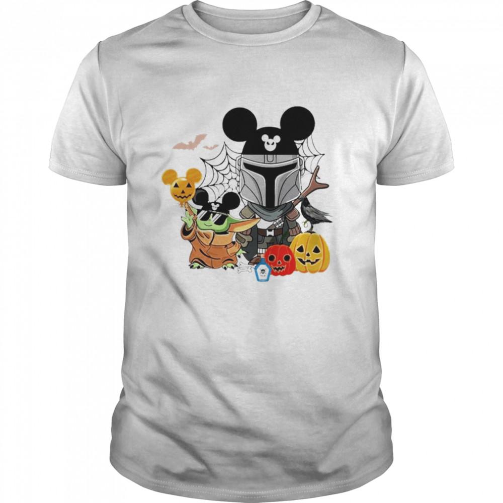Mickey and Baby Yoda mashup Darth Vader happy Halloween shirt