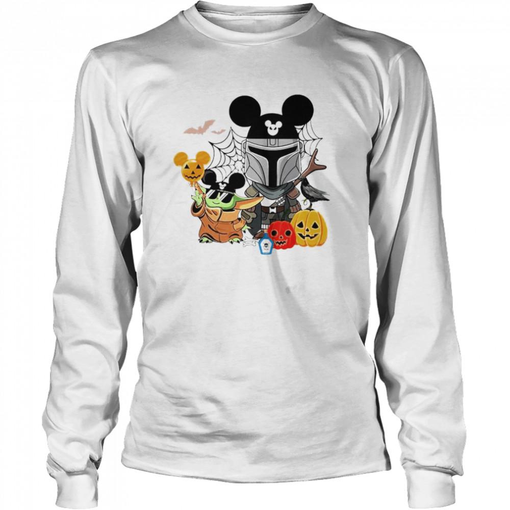 Mickey and Baby Yoda mashup Darth Vader happy Halloween shirt Long Sleeved T-shirt