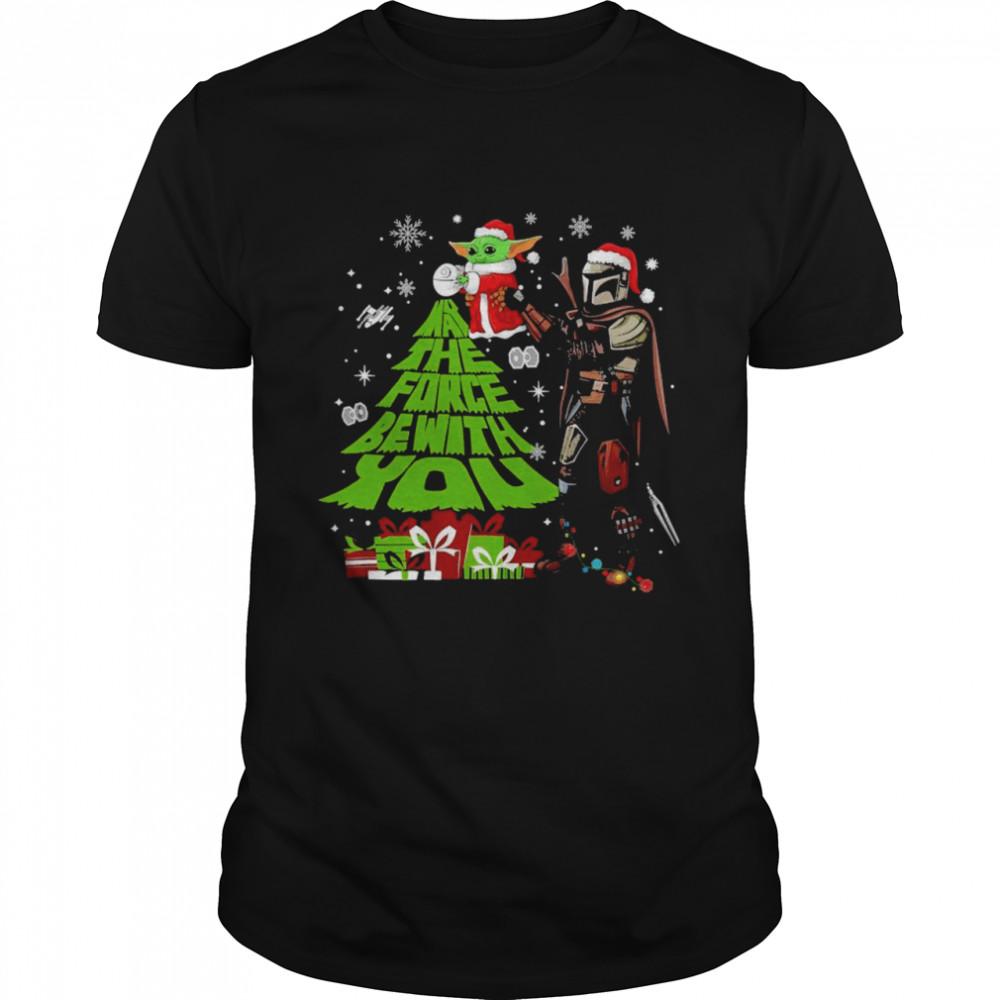 Santa Baby Yoda and santa Mandalorian may the force be with You Christmas shirt