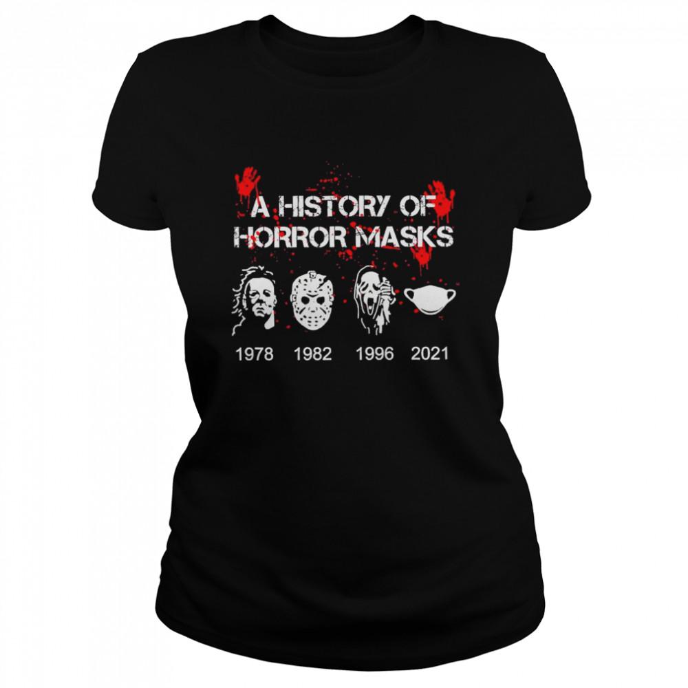 A History of horror masks 1978 1982 1996 2021 shirt Classic Women's T-shirt