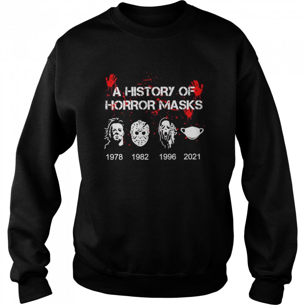 A History of horror masks 1978 1982 1996 2021 shirt Unisex Sweatshirt