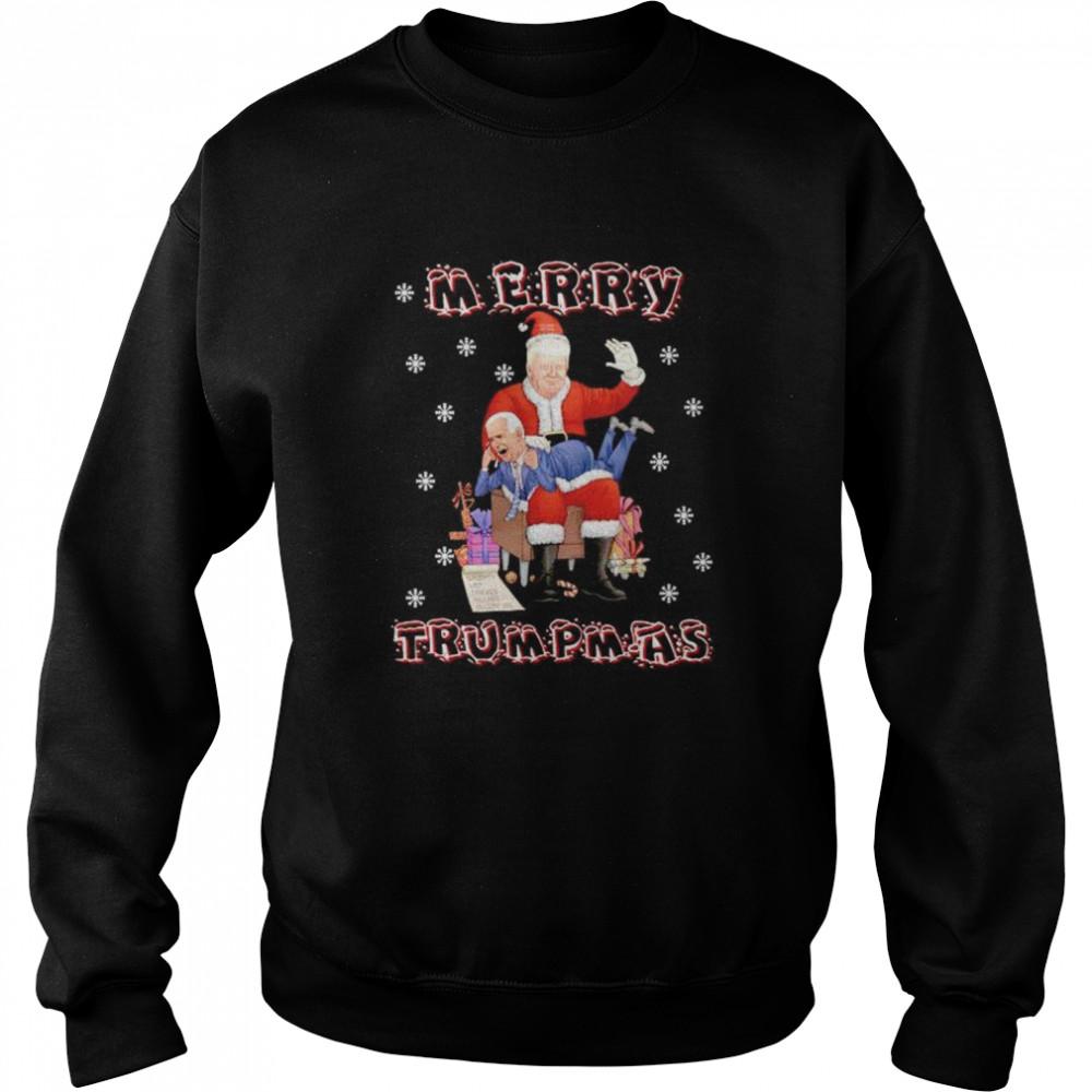 Awesome santa Trump hit Biden merry Trumpmas Christmas shirt Unisex Sweatshirt