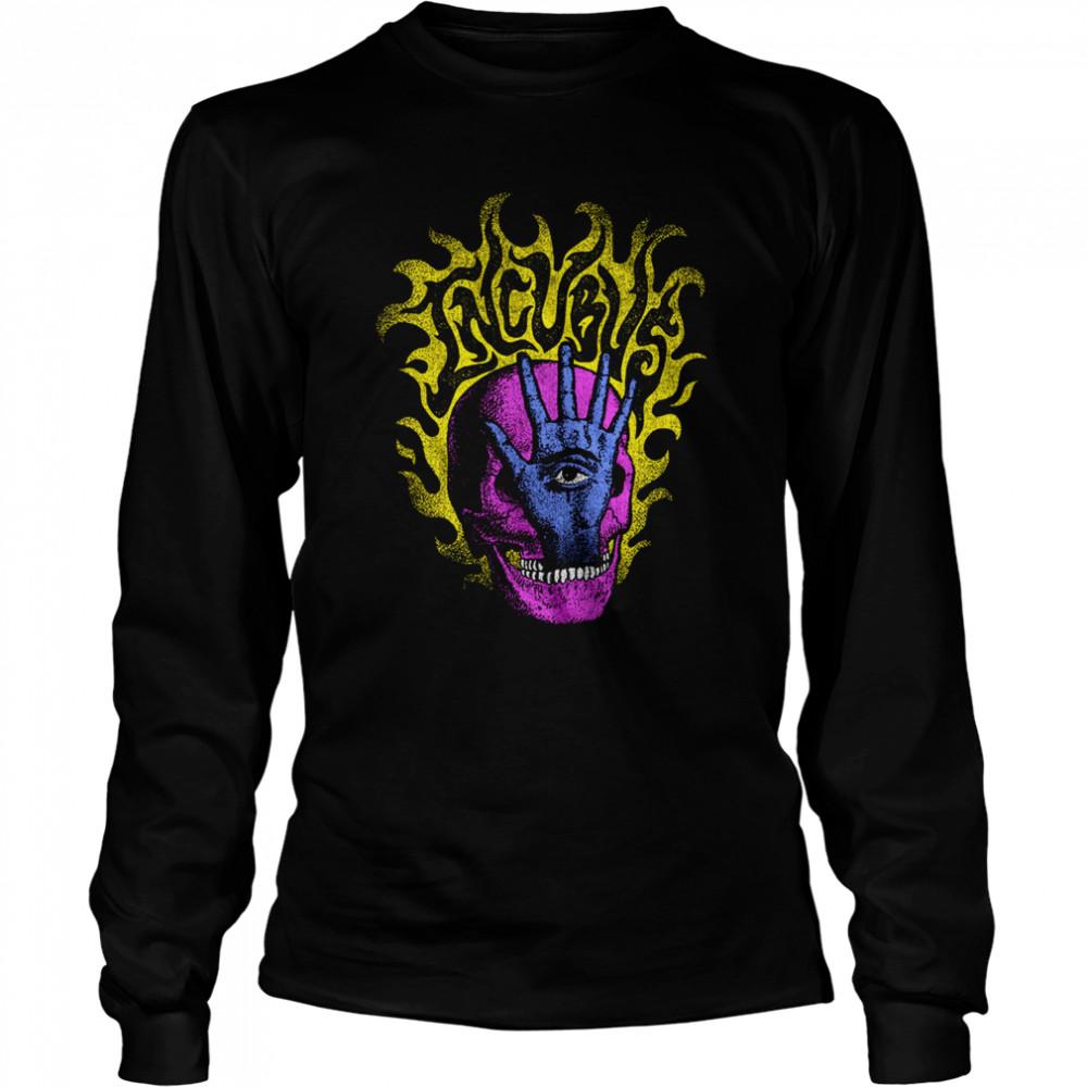 Incubus Flaming Skull Hand shirt Long Sleeved T-shirt