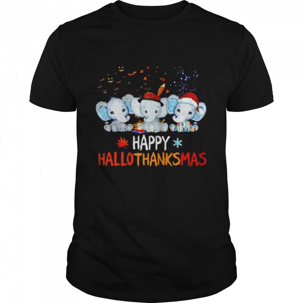 Premium elephant happy Hallothanksmas Halloween Thanksgiving Xmas shirt
