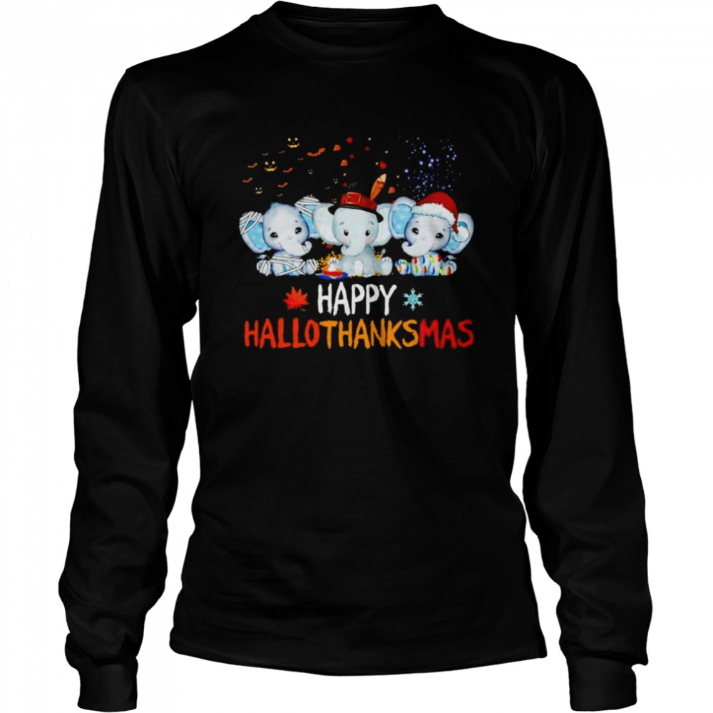 Premium elephant happy Hallothanksmas Halloween Thanksgiving Xmas shirt Long Sleeved T-shirt