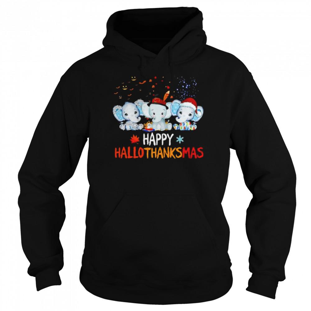 Premium elephant happy Hallothanksmas Halloween Thanksgiving Xmas shirt Unisex Hoodie